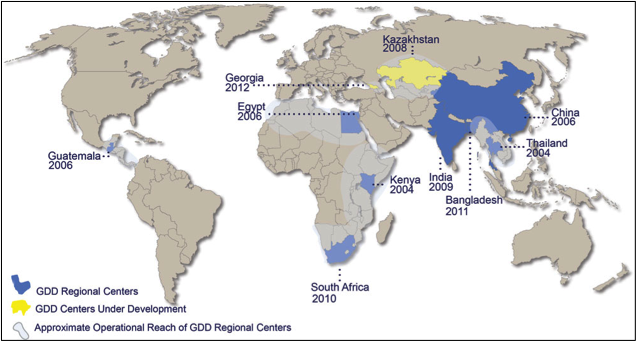 CDC Global Disease Detection (GDD) Regional Centers. From the CDC website: The Global Disease Detection Program (GDD) is CDC's principal and most visible program for developing and strengthening global capacity to rapidly detect, accurately identify, and promptly contain emerging infectious disease and bioterrorist threats that occur internationally.  Source: http://www.cdc.gov/globalhealth/gdder/gdd/regionalcenters.htm